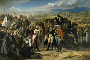 En La Rendición de Bailén (1864), José Casado de Alisal presenta los dos bandos enfrentados en el momento de reconciliación, sin denigrar al enemigo ni endemoniarlo pictóricamente. Se presenta al bando español compasivo. Fuente: Museo del Prado