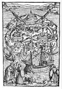 "La isla de Utopía, grabado del libro de Thomas More: ""De optimo reipublicae statu, deque nova insula Vtopiae"" (1516)"