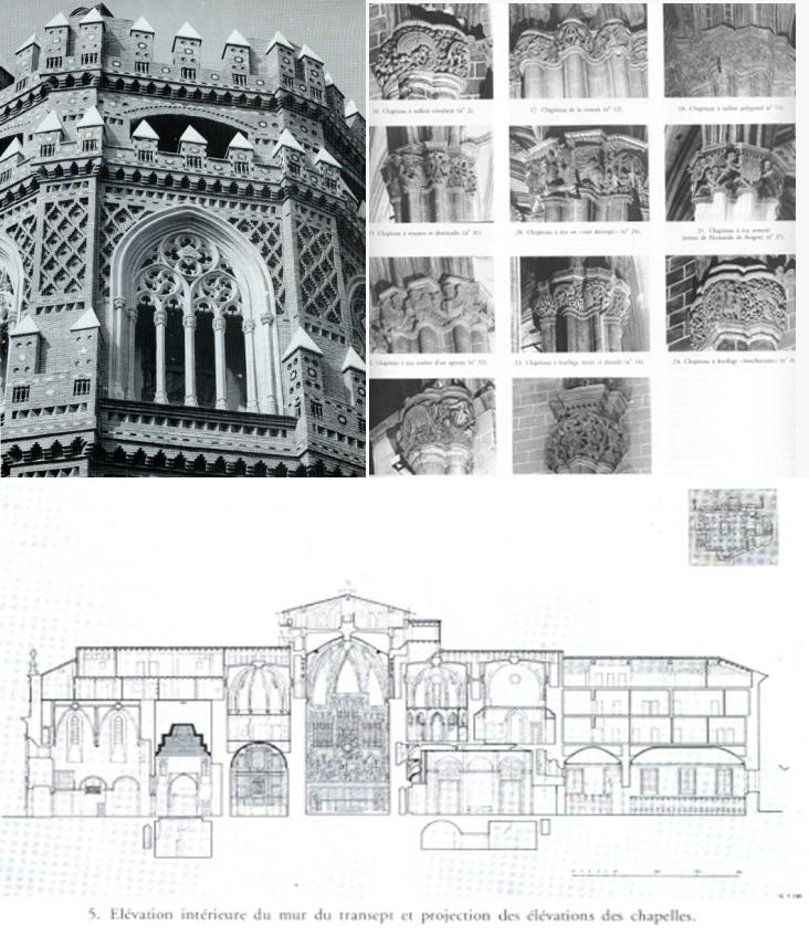Montage de documents iconographiques exploités par Philippe Araguas dans son étude sur la Seo de Saragosse, Revue de l'Art, 1992.