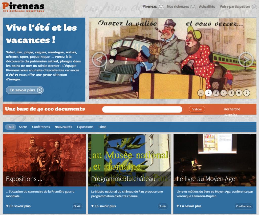 Capture écran du portail documentaire Pireneas prise le 01 septembre 2014.
