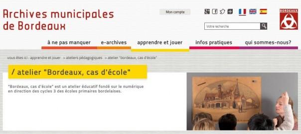 """Capture écran du site Internet des Archives Municipales de Bordeaux présentant le programme pédagogique """"Cas d'école""""."""