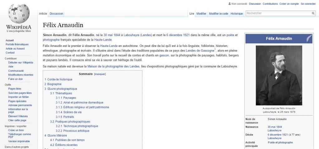"""Capture écran de l'article """"Félix Arnaudin"""" faite le 09 septembre 2016."""