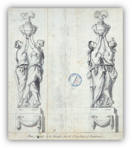 Jacques-Pierre-Jean Rousseau, ingénieur des ponts et chaussées, puis architecte de la ville d'Amiens, reliefs de la façade du théâtre de la ville, 1778, Archives départementales de la Somme
