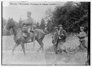 Belgian Franctireurs, prisoners of German Hussars
