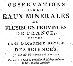 Title page of the Academy's Observations sur les eaux minérales (1675)