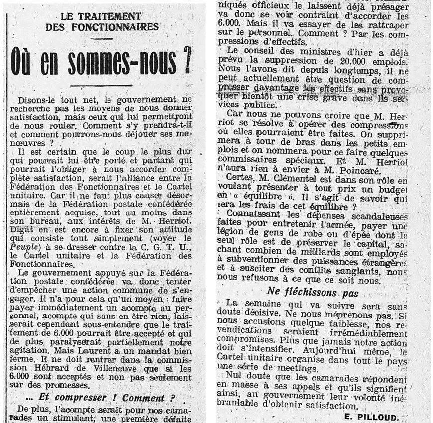 La politique du Cartel vue par l'Humanité (12 octobre 1924)