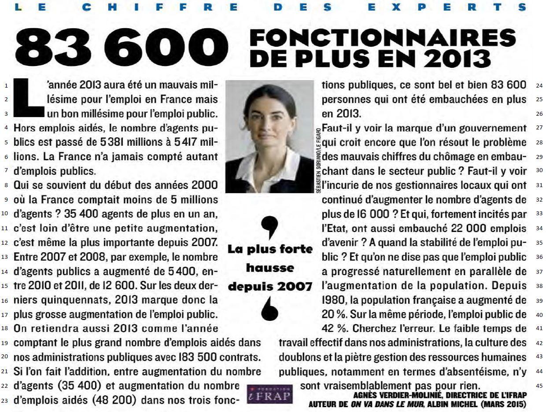 """""""Le chiffre des experts. 83 600 fonctionnaires de plus en 2013"""" - Figaro Magazine, 24 avril 2015 - p. 24"""
