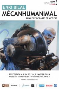 Affiche officielle de l'exposition Mécanhumanimal proposée par Enki Bilal et le Musée des arts et métiers à Paris.