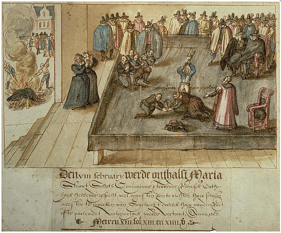 The Execution of Mary, Queen of Scots, Dutch watercolor 1613