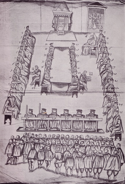 The Trial of Mary Queen of Scots, 1587. From a drawing in Beale's MSS., in the possession of Lord Calthorpe
