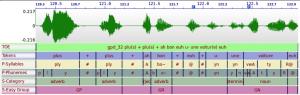 Exemple de corpus annoté automatiquement. Seule la transcription orthographique enrichie (TOE) est effectuée manuellement.