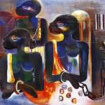 1975  Souleymane Keita  Les Esclaves  Huile sur Toile    100x150 cm  Collection Particuliere