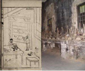 Gauche : illustration du Tiangong kaiwu. Droite : coupelles pour la production du noir de fumée, Tunxi (photographie de M. Bussotti)