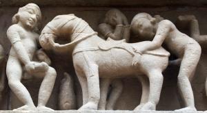 Sculptures on the platform of the Lakshmana temple, Khajuraho, ca. 950 CE