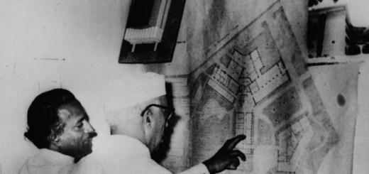 India. Jawaharlal Nehru looking at plan for national art institute in Delhi-copyright Ram Rahman