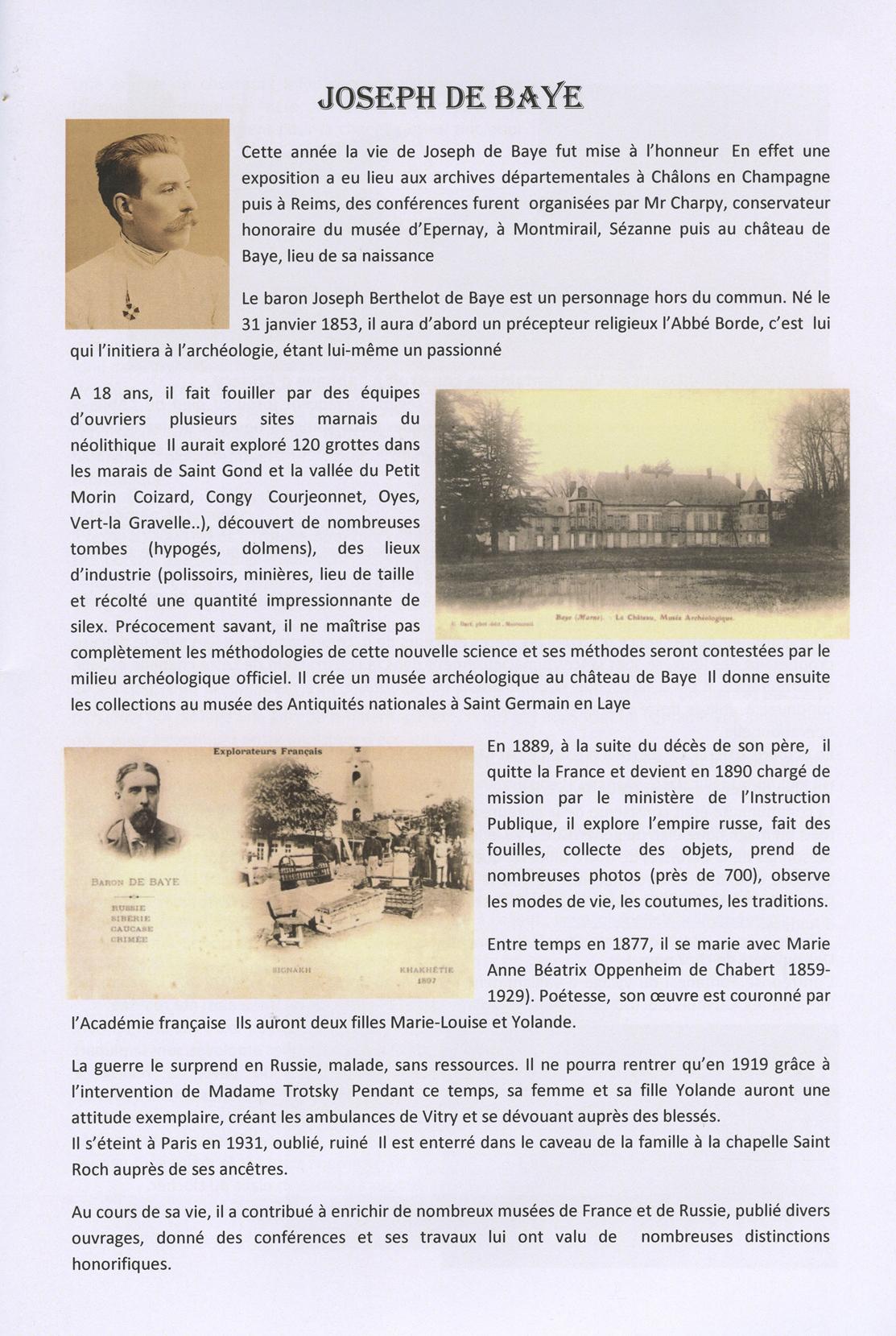 Bulletin municipal 2013 de Baye, paru en janvier 2014, éditions Commune de Baye, page 33