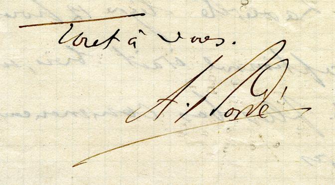Signature de l'abbé Bordé (extrait d'un fragment de lettre daté de 1888). Collection particulière
