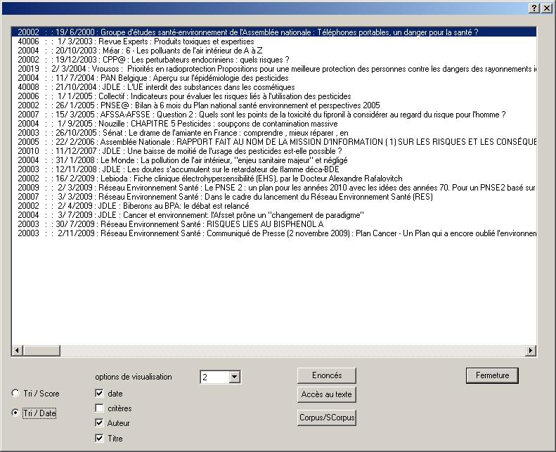 Image écran du résultat fourni par l'explorateur interne appelé aussi « anti-Google »