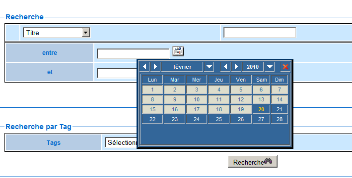 Figure 3 : Fenêtre permettant les recherches multicritères
