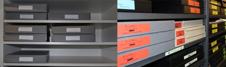 A gauche le nouveau stockage, boites de conservation au format, à droite, une partie du fonds qui reste à reconditionner