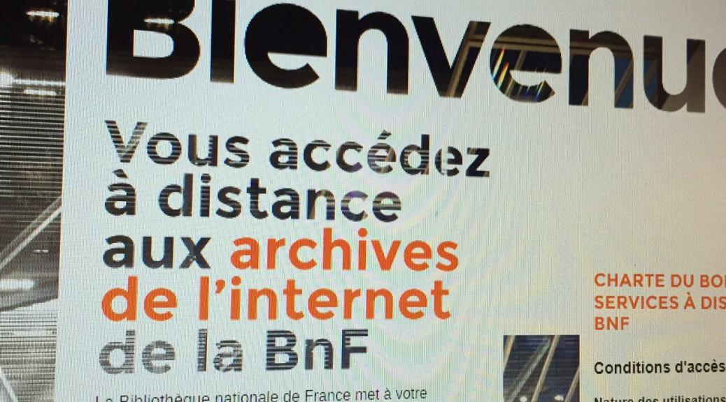 La page d'accueil des archives de l'Internet de la Bnf