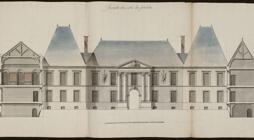 Façade du coté du jardin [Projet de reconstruction du château de Lunéville, dessin pour la façade du corps de logis du coté du jardin], Germain Boffrand