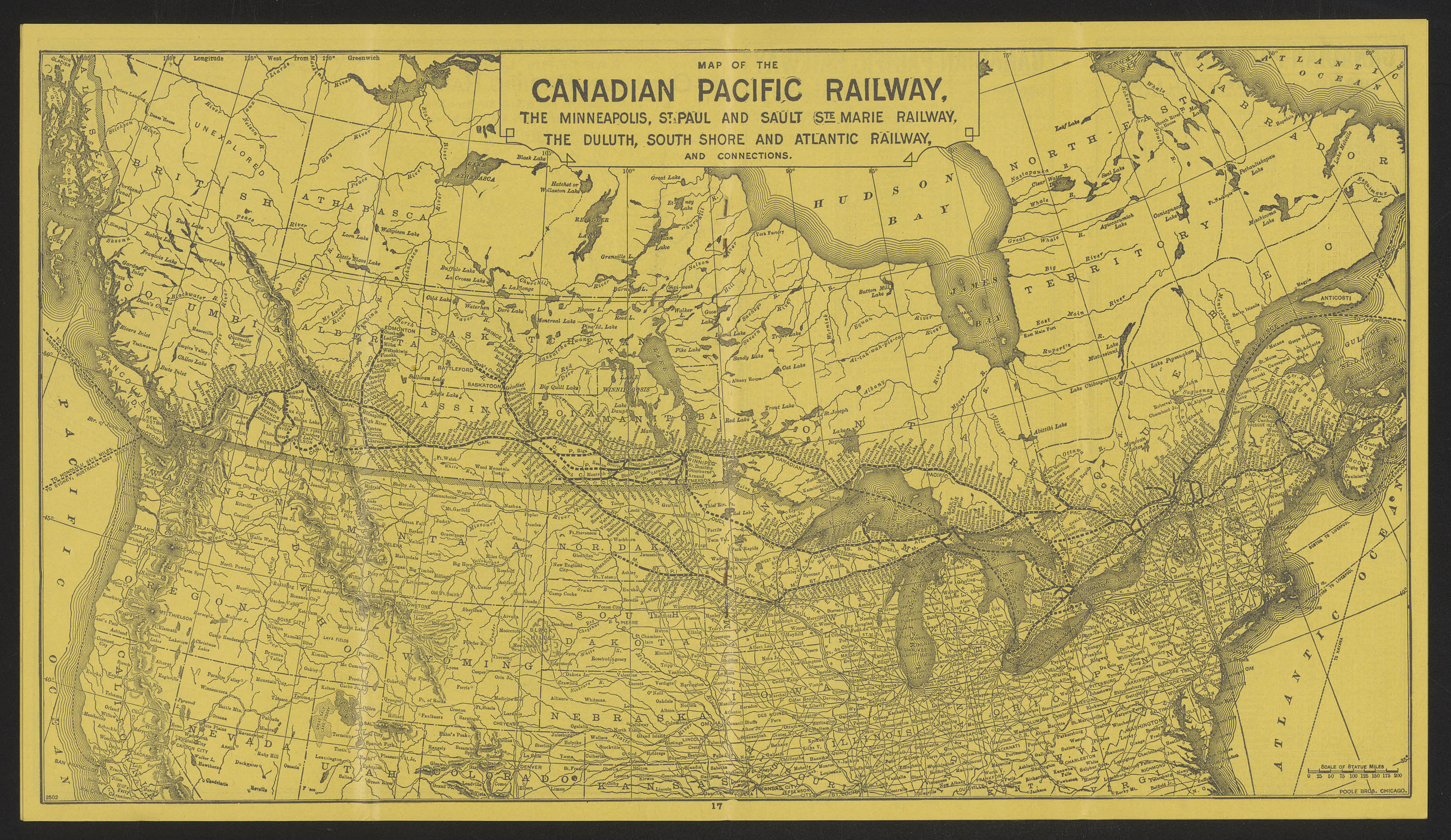 Map of the Eastern Lines, Canadian Pacific Railway. 1896