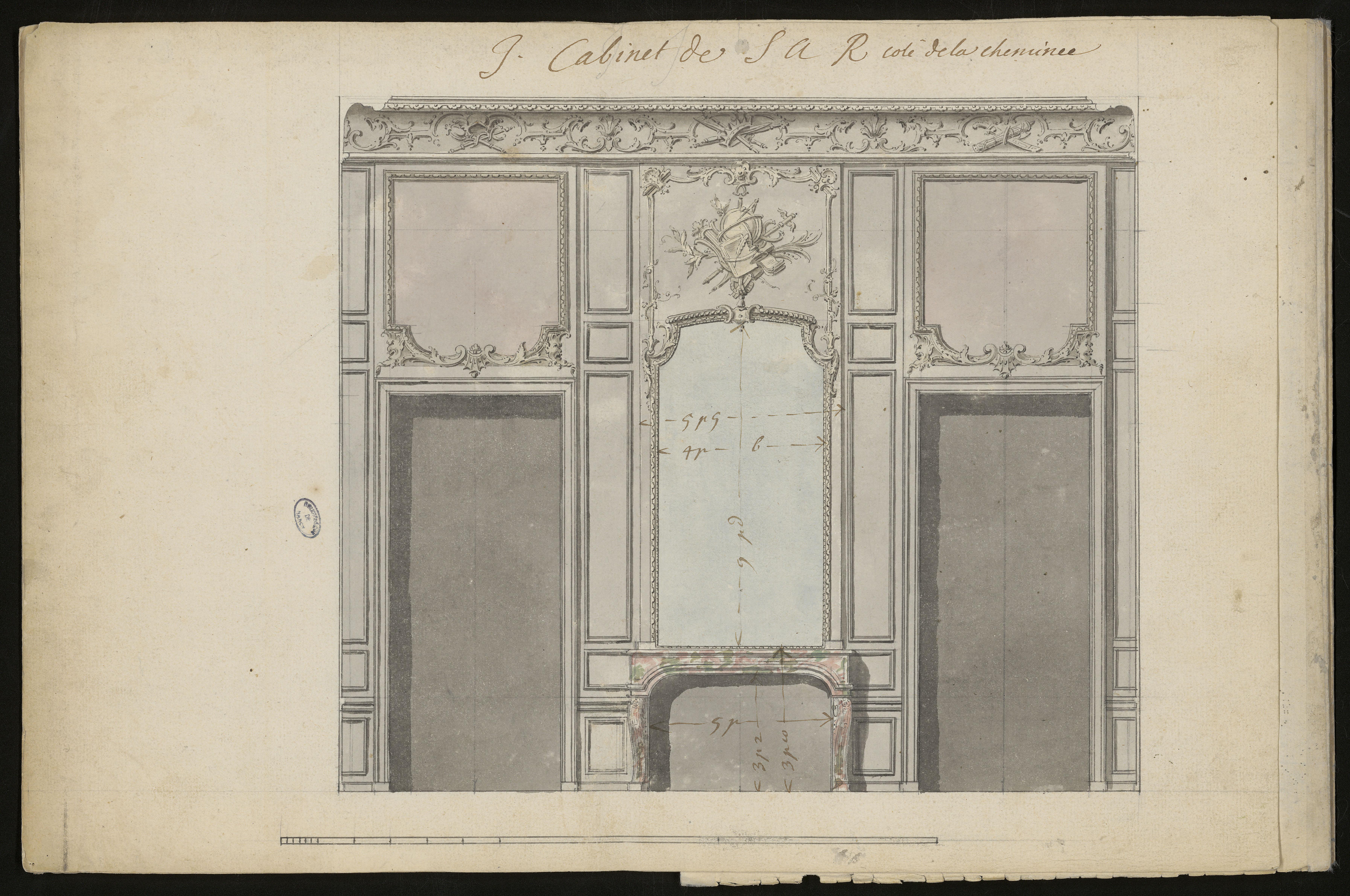 I. Cabinet de S A R coté de la cheminée [Projet de décor pour le cabinet de Léopold], Germain Boffrand