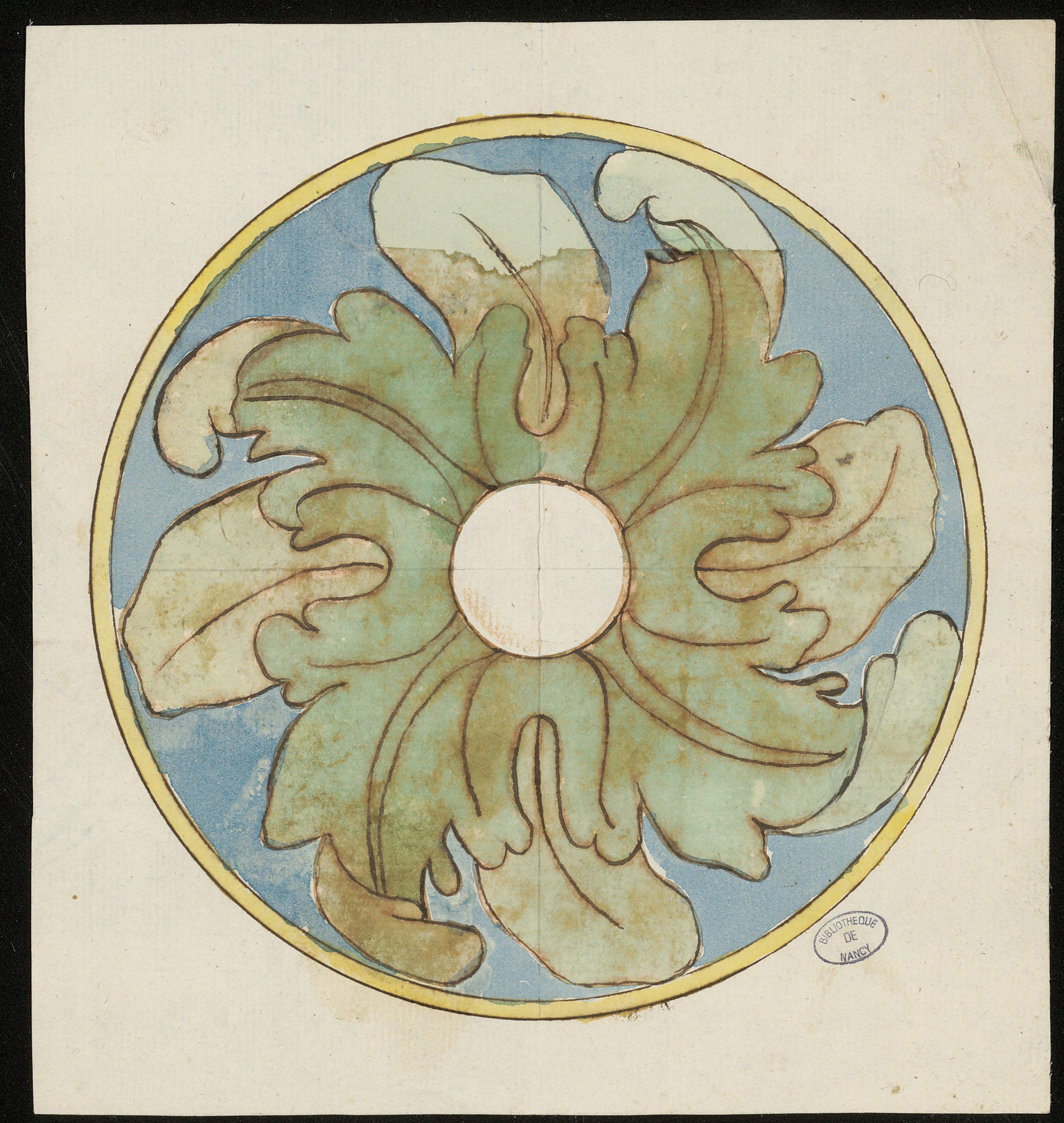 [Motif d'ornement : modèle de rosace tournante à feuille d'acanthe et feuille d'eau], anonyme