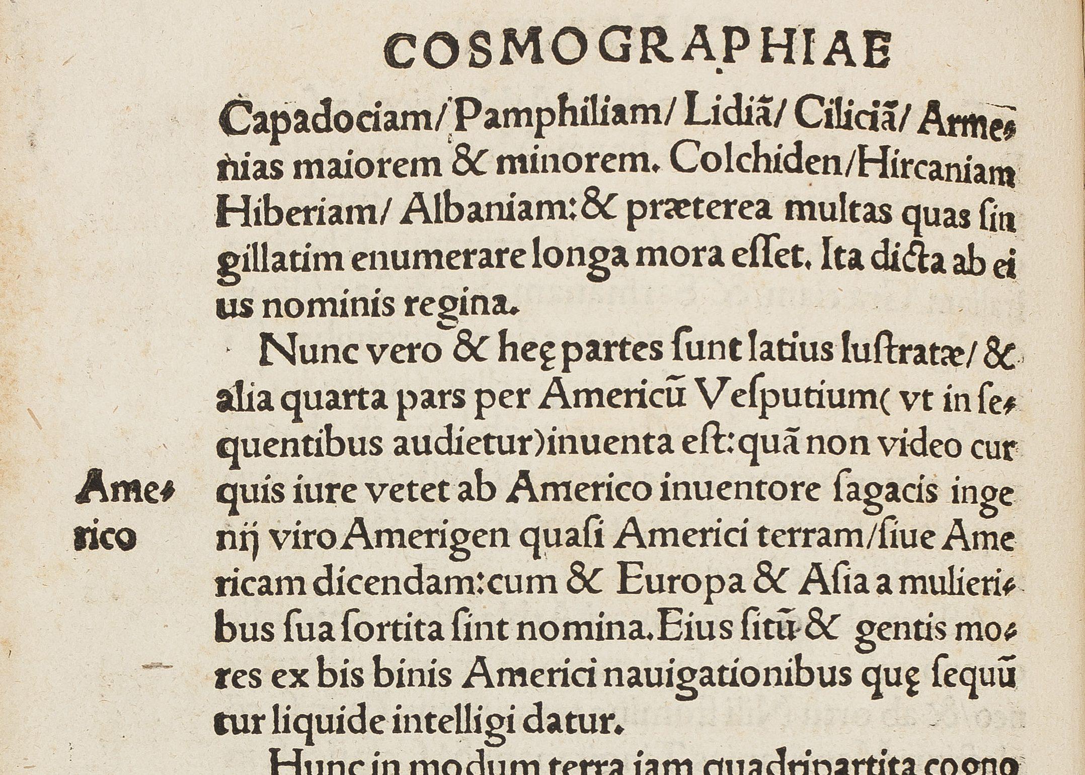 Première mention de nom Amérique dans la Cosmographie de Waldseemüller
