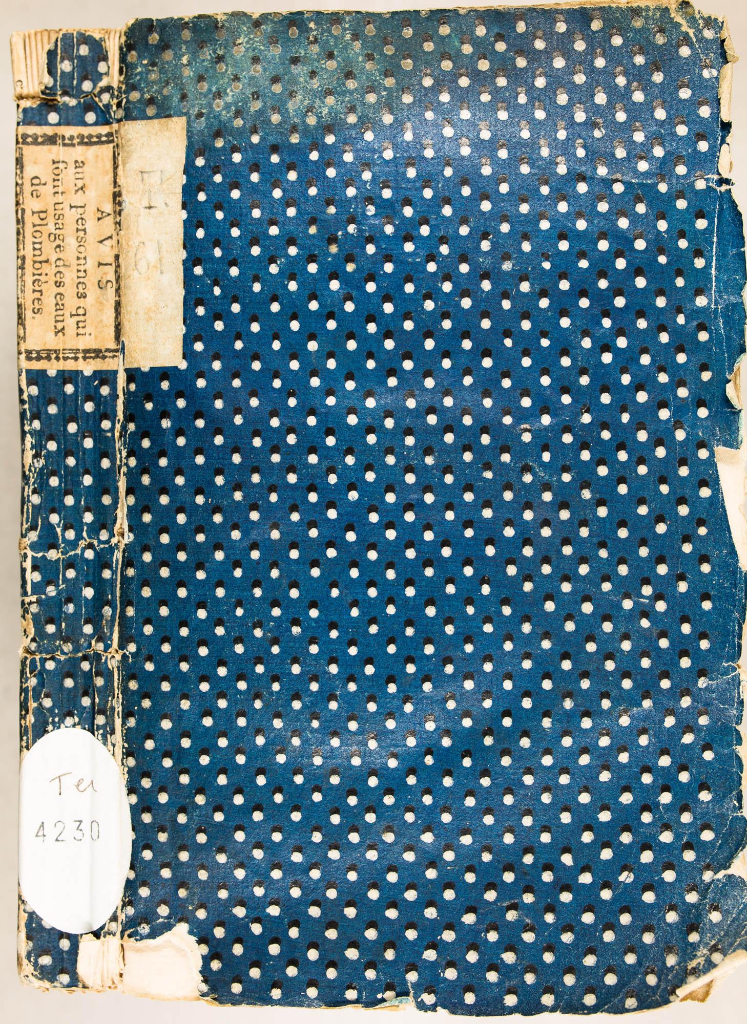 Pièce de titre imprimée à Bruyère par la Veuve Vivot, 1782
