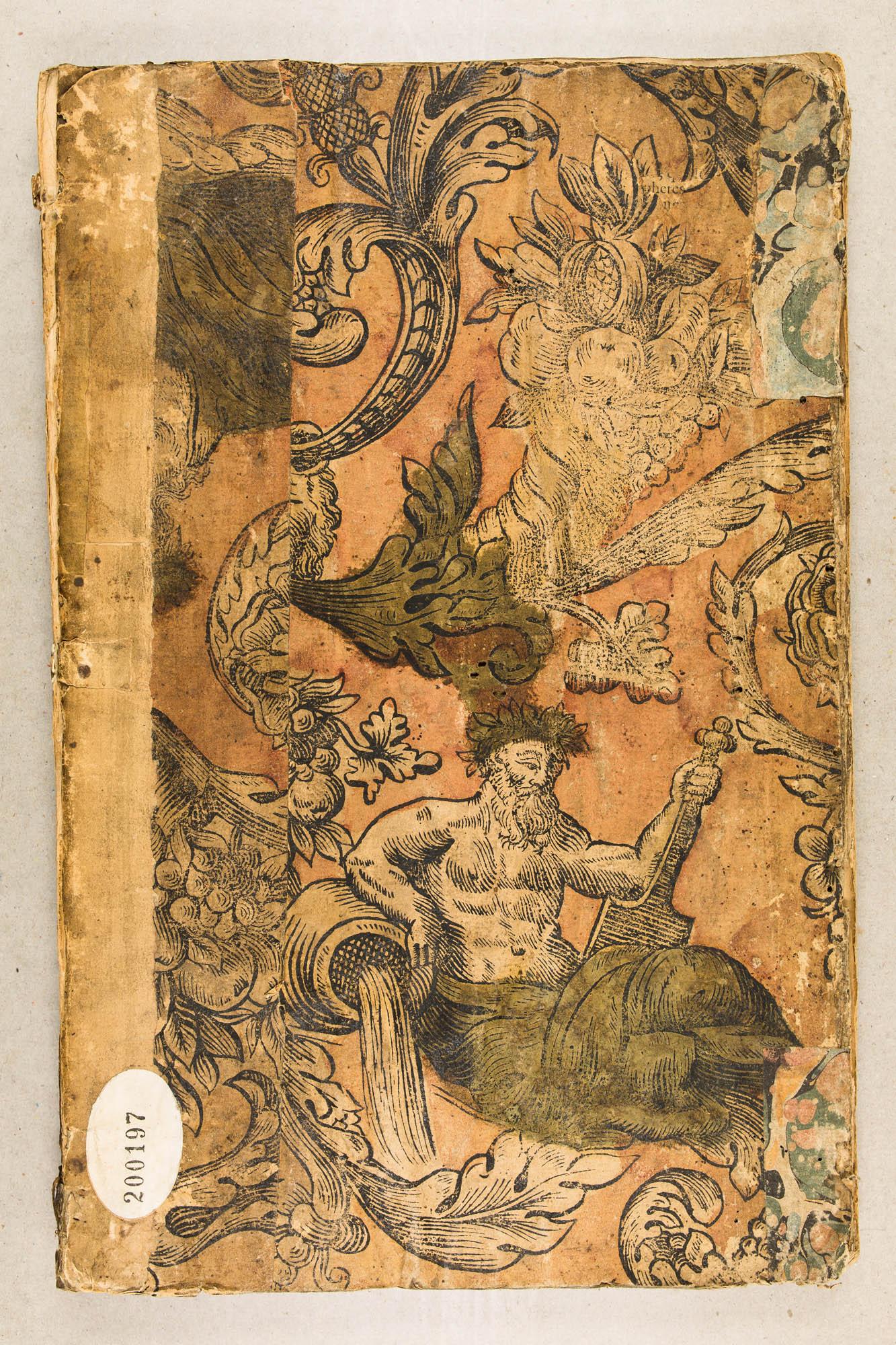Fragment de papier peint. Cornes d'abondance et allégorie de fleuve. XVIIe ou début XVIIIe s.