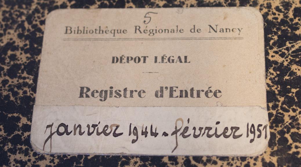 Premier registre du dépôt légal