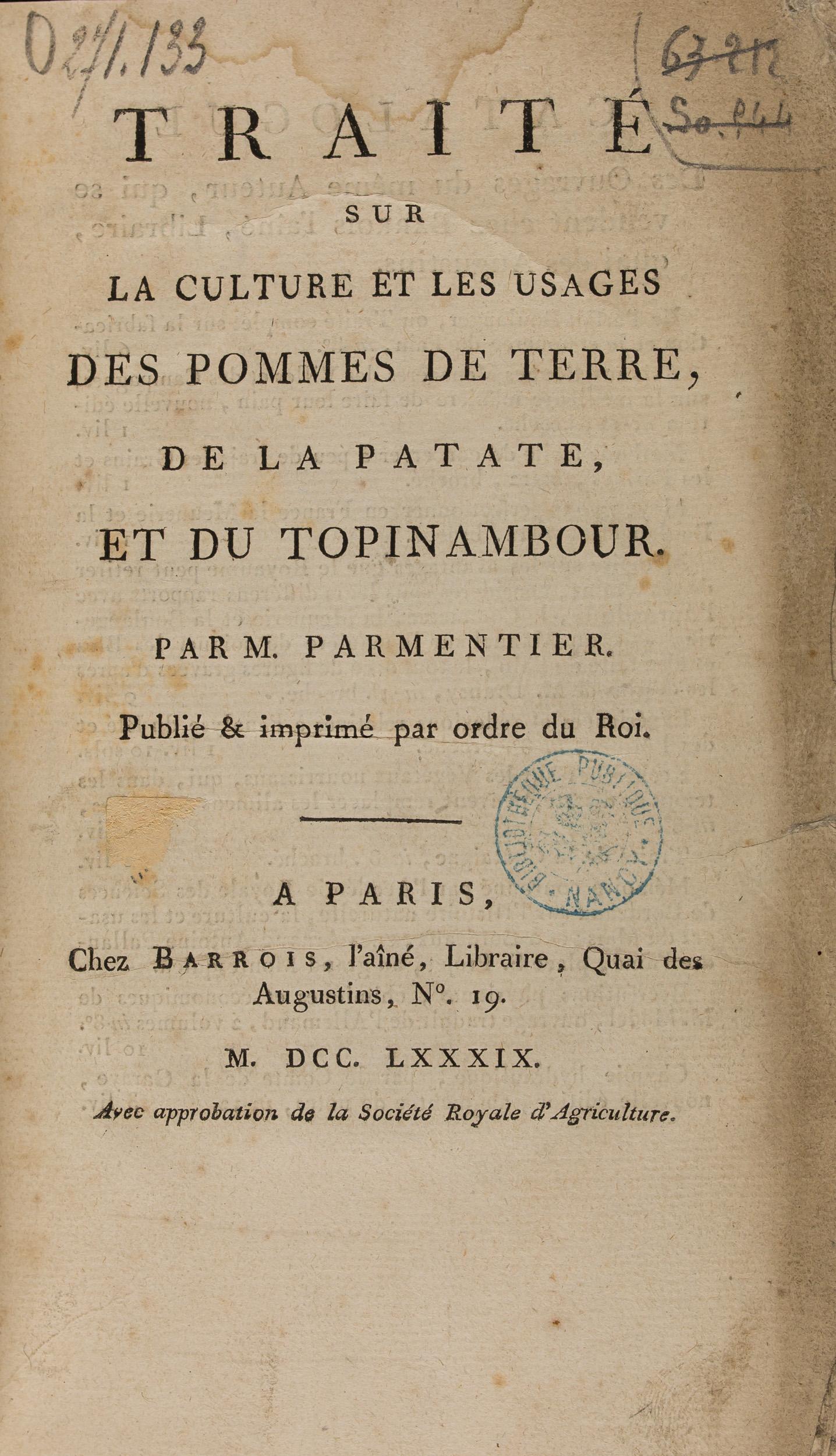 Traité sur la culture et les usages de la pomme de terre, Parmentier, 1789 (271 133)