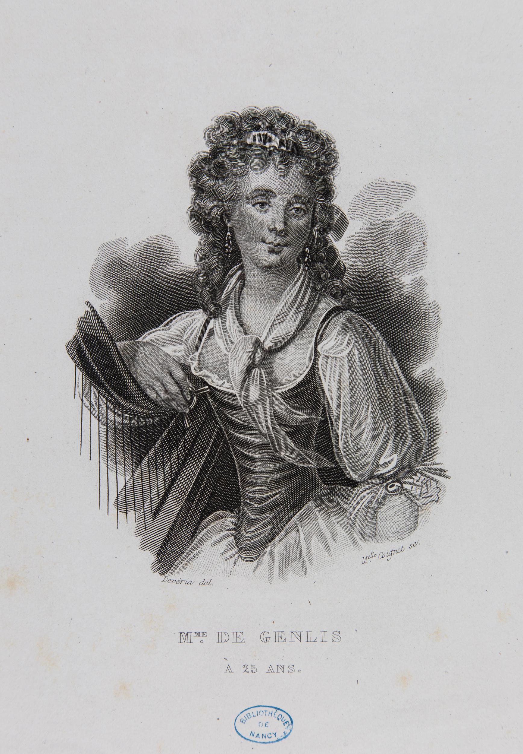 Portrait de Madame de Genlis. Lithographie par Melle Coignet d'après un dessin de Devéria. (FG3 Genlis)