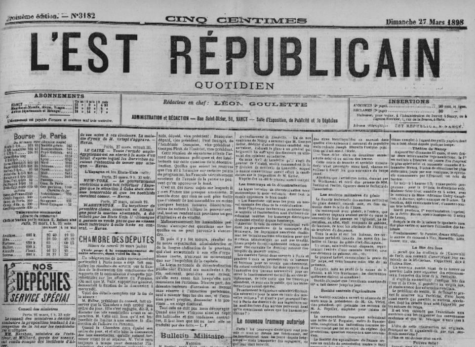 Une de l'Est Républicain de 1898