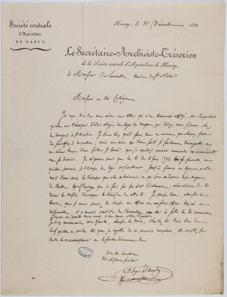 Lettre de Soyer-Willemet en vue de protéger ses parents
