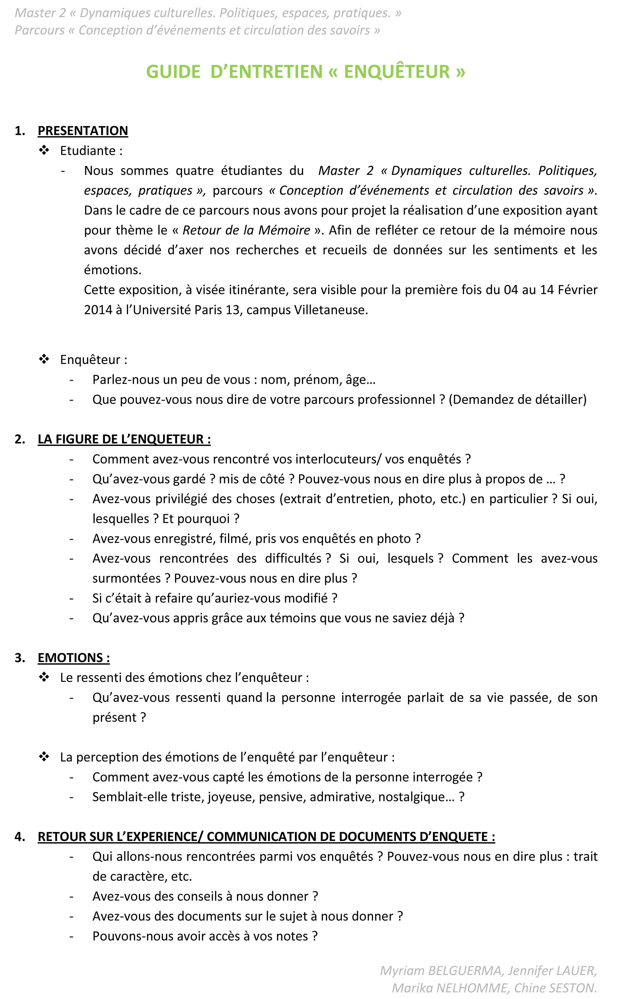 Nos guides d entretien le bidonville de la campa - Grille d entretien semi directif exemple ...