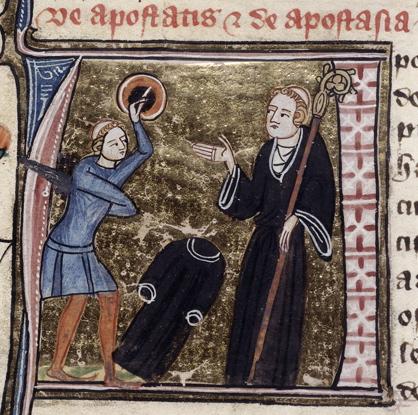 Apostat de l'état clérical : un clerc tonsuré, armé d'une épée et d'un bouclier, ayant jeté à terre son habit noir, affronte un abbé. British Library, ms. Royal 6 E VI (James le Palmer, Omne Bonum), fol. 115, v. 1360-1375