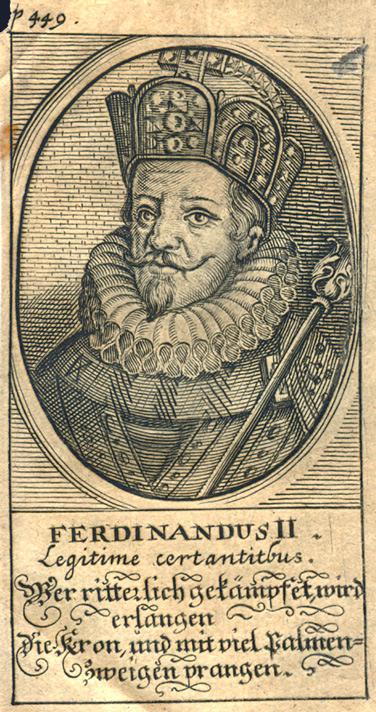 Ferdinand II, gravure. Reproduction Skara kommun (Skara, Suède) sous Licence CC BY 2.0
