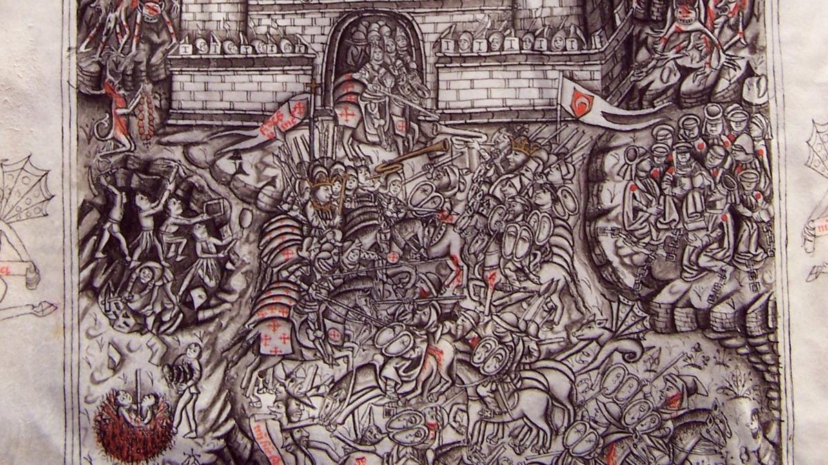 Alonso de Espina, Fortalitium fidei, illusration (détail) . Au centre, combat des chrétiens contre les musulmans. A droite, les juifs enchaînés et aveugles (signe de leur refus de la foi chrétienne) et marqués.