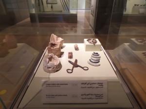 Vitrine d'objets provenant d'Addiriyah, la capitale du premier Etat saoudien (1744-1818)