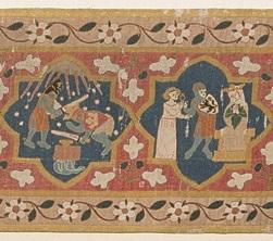 Iwein-Szenen des Maltererteppichs, © Augustinermuseum - Städtische Museen Freiburg, Malterer-Teppich, um 1320, Leihgabe der Adelhausenstiftung Freiburg, Foto: Hans-Peter Vieser