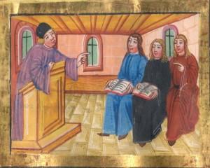 Unterricht um 1500 (Universitätsarchiv Freiburg, A 105 / 8141 fol. 42r unten)