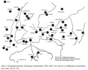 Einzugsbereich der Freiburger Lateinschule