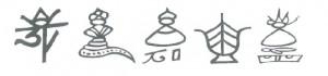 Divinités naxi : Iku Ake, le dieu suprême; Ssu, esprits de la nature; Sanduo, le héros protecteur de Lijiang, Ssu, divinité de la vie; Dongba Shiluo, héros légendaire, fondateur des Dongba. Source : Pedro Ceinos Arcones (2012)