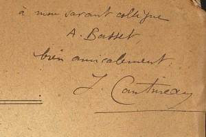 """Dédicace de Jean Cantineau """"à [s]on savant collègue A. Basset"""""""