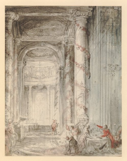 Gabriel de Saint-Aubin, Interior of the Coliseum, Paris, ca 1771-1780, black chalk with watercolour, British Museum.