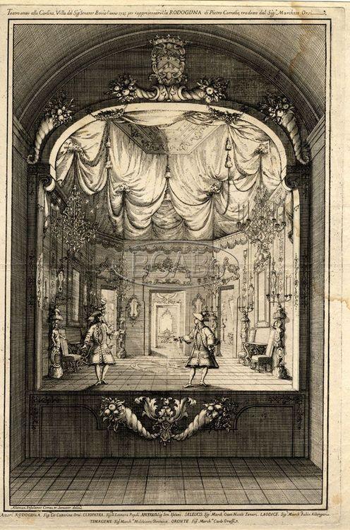 Teatro eretto alla Carlina, villa del signor Bovio, l'anno 1725 per rappresentarvi la Rodoguna di Pierre Corneille Incisione all'acquaforte BCABo, GDS Cart. H, Feste e scene teatrali, n. 46 Bologna (Italy), Biblioteca dell'archiginnasio.