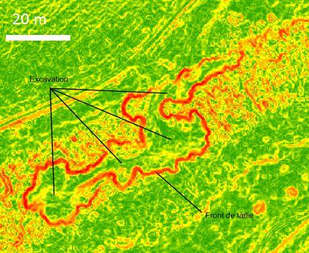 Carte des pentes dans le Châtillonnais. Vert : plat ; jaune : faible pente ; rouge : forte pente. (source : LIDAR châtillonnais)